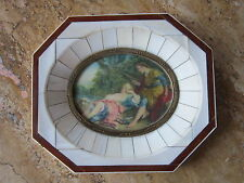Antique Miniature Hand Painted Romantic Lovers Scene   Piano Key Frame