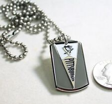 PITTSBURGH PENGUINS NHL PENNANT STAINLESS STEEL DOG TAG NECKLACE  3D BALL CHAIN