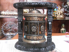 "7.5"" BUDDHIST PRAYER WHEEL OM MANE MANTRA BUDDHA HAND CARVED WOOD, Wall Display"