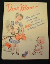 1947 MOTHER'S DAY Card Humorous Comic POSTER Vintage FREE SHIPPING!