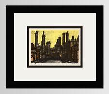 """WOW 1967 Bernard BUFFET Lithograph """"New York, the Great City"""" Gallery Framed COA"""