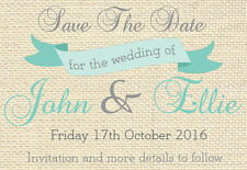 10 Personalised Wedding Save The Date Magnets with envelopes