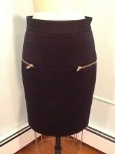 Ali Roe Black Fully Lined Gold Zipper Pocket Straight Skirt Size 8