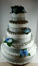 Rhinestone Fake Wedding Cake Centerpiece 5 layer Staging Prop blue roses