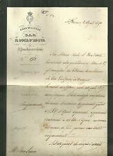 Messaggio di Emanuele Filiberto Casa Militare di S.A.R. Duca di Savoia 1890