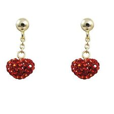 Sterling Silver Gold Plated Red Crystal Hearts Long Kids Dangle Earrings