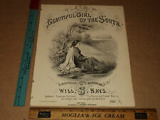 Rare Antique Orig VTG 1868 Beautiful Girl of the South Sheet Music Will S. Hays