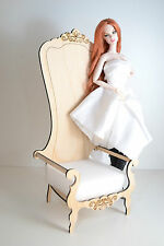 King chair for Dolls 1/6 1:6 furniture Barbie FR extraordinary wooden DIY