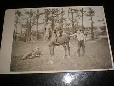 Old cabinet photograph 3 men and a horse c1890s ref 38(14)