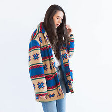 Vintage Oversized Aztec Tribal Fleece Coat / Boho Grunge Waterproof Jacket