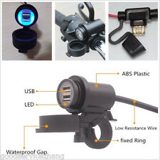 2-USB Waterproof Charger Power Adapter Smartphone iPhone Android GPS Motorcycle