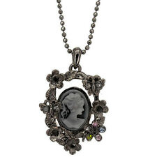 Vintage Victorian Design Queen Goth Lady Cameo Pendant Necklace Jewelry New 18""
