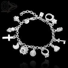 Bettelarmband 925 Sterling Silber plat. Armband Kreuz Herz 13 Anhänger 19 cm Neu