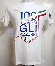 ITALY WHITE 100 YEARS GRAPHIC TEE SHIRT BY PUMA SIZE MEDIUM BRAND NEW WITH TAGS