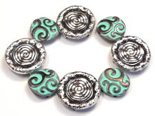 8 - 2 HOLE SLIDER BEADS SOUTHWESTERN SUN DESIGN & PAINTED COPPER PATINA SWIRLS