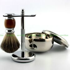 Best Pure Badger Wet Shaving Brush + S_Steel Mug Bowl + Stand Shave Razor Kit