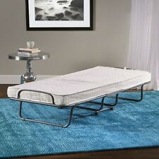 Folding Guest Bed Grey Cover Twin Size Metal Frame Futon Cot  Portable Bed