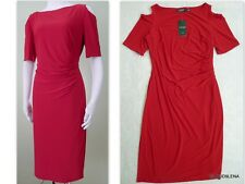 NWT($134) RALPH LAUREN Size 14 Red Cold Shoulder Jersey Sheath dress
