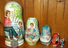 Russian dolls 5 hand painted Mayakovsky What is Good and What is Bad signed GIFT