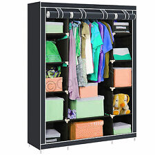 Triple Multiple Canvas Wardrobe With Hanging Rail Shelves Home Storage Furniture