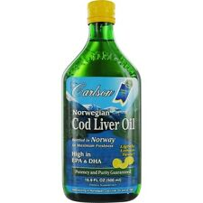 Carlson Norwegian Cod Liver Oil Lightly Lemon Taste High In Epa & Dha --16.9 oz