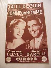 Partition  J'ai le Beguin Barelli Comme un Homme Jo Moutet Delyle 1957