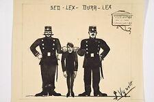 Sed lex dura lex Policiers ramenant un malfaiteur au poste de police Dessin XX°s