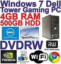 Windows 7 Dell Tower Dual Core 2x3.40GHz PC Gaming Computer - 4GB RAM 500GB HDD