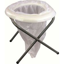 PORTABLE FOLDING TOILET camping loo field potty commode NO CHEMICALS