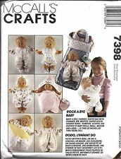 "7398 UNCUT Vintage McCalls Sewing Pattern Doll Clothes 12"" - 22"" Carrier Bag FF"