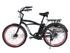 New Black 2015 Newport Electric Beach Cruiser Bicycle White Wall Tires E-Bike EV