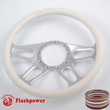 14'' Billet Steering Wheels White Half Wrap Bronco F150 Mercury Capri Lincoln