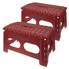 2 Samsonite Wide Red Folding Stepping Stool Non Slip With Handle 250 lb Capacity
