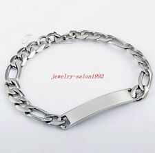 Handmade Silver Men Stainless Steel 7mm Figaro Chain Smooth ID Bangle Bracelet