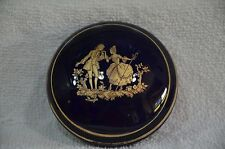 Porcelaine  Limoges France Covered Trinket Box/ Dresser Jar Cobalt Blue (25)