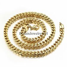 Gold Tone Mens Square Curb Cuban  Link Chain Stainless Steel Necklace 22""