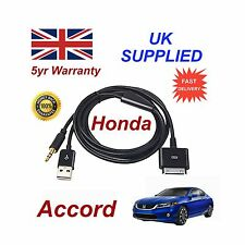 Honda ACCORD For Apple iPhone 3GS 4 4s iPod USB & 3.5mm Aux Cable Black