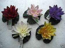 PACK 12 NEW FLOATING WATER LILLY & PAD SILK FLOWERS RED ARTIFICIAL FLOWER