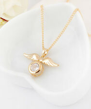 New 18K Gold Filled Angel Wings Shiny Swarovski Crystal Pendant Necklace Gift