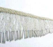 Upholstery Decorative White Beaded Fringe Ribbon Curtain Craft Supplies By 1 Yd