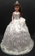 NEW White 28 inch Mis 15 XV Anos Quinceanera Porcelain Party Umbrella Doll