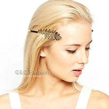 Gold Side Open Leaf Branch Dainty Back Hair Crown Head Dress Alice Band Bridal
