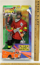 "Max Steel 2002 Action Figure N-Tek Fire Rescue Pose-able 12"" Fireman Mattel NIB"