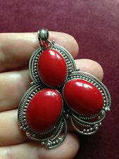 LARGE  25 GRAMS RED CORAL STERLING SILVER PENDANT
