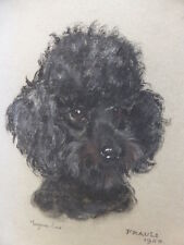 PASTEL OF BLACK POODLE LISTED ARTIST MARJORIE COX  FREE SHIPPING