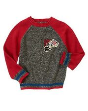 Gymboree London Rocker Boys Grey Red Marled Guitar UK Flag Sweater M 7-8 NEW NWT