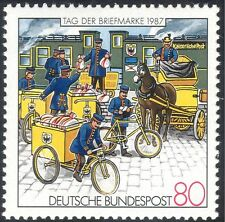 Germany 1987 Stamp Day/Mail Train/Horse/Bicycles/Bikes/Post/Transport 1v n27678