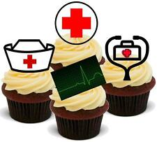 MEDICAL Doctors Nurses 12 STAND UP Edible Cake Toppers Premium Wafer Hospital