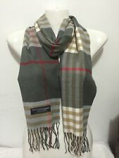 CASHMERE SCARF NEW PLAID DESIGN COLOR GRAY SUPER SOFT UNISEX