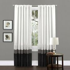 """Set of 2 Black White Block Design Polyester Window Curtain Panels 54"""" by 84"""""""